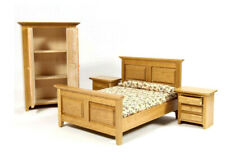 Dolls House 4 Piece Country Bedroom Set Double Bed & Wardrobe 1:12 Scale DF4437