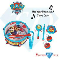 Paw Patrol Pack Away Drum 9-Piece Musical Instrument Set Children's Carry Case