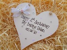 Shabby Chic Style 1st Anniversary Heart Plaque Keepsake Gift