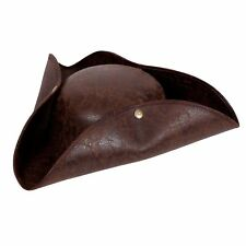 Deluxe Distressed Leather Pirate Hat Adults Fancy Dress Costume Accessory