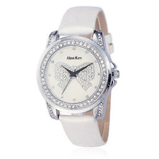 Alias Kim White Round Crystal Face Leather Bracelet Band Women Lady Quartz Watch