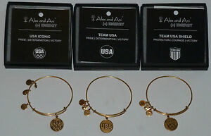 3 Alex and Ani  Gold Olympic USA Iconic, Team USA, Team USA  Shield Bracelets