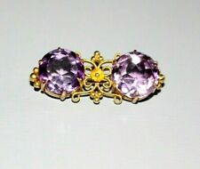 ANTIQUE VICTORIAN 9CT GOLD NATURAL AMETHYST BROOCH / PIN.
