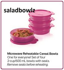 TUPPERWARE Four 4 MICROWAVE REHEATABLE CEREAL BOWLS w/Seals! FUCHSIA PINK no BPA