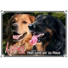 Dog Sign - 2 Hovawart - Stainless Steel Metal Sign Schwarzmarken Blonde