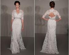 JIM HJELM 8211 Bridal Wedding Dress Gown Lace Sleeve Train NEW 0/2 $4000! Veil!
