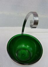 Art Deco Style stainless steel bowl with green glass liner