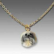 Dog on Chain Pekingese Resin Dog Head Necklace Jewelry Pendant