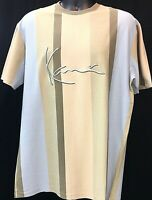 Karl Kani Rugby Designe Embroidered T-Shirt Tan Vertical Stripe Signature Toned