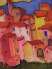 Fine Art Print of Watercolor Framed & Signed Homes in a Town Agnes Copeland