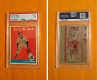 1958 Topps Baseball Tony Kubek #393 Yankees' all-star & announcer; PSA 7 NM+ W0W