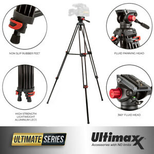 Portable Video Camera 72-inch 180cm 90 Degree Pivot Head Fluid Pan Tilt Tripod