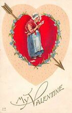 Unsigned Brundage, c. 1910, Valentine, Old Woman Reading Card, Series #V-75