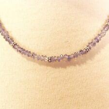 "24"" Dainty Faceted Light Blue Crystal Quartz Bead Handmade Necklace Choker"