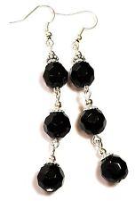 Very Long Silver Black Earrings Glass Beads Drop Dangle Vintage Style Pierced