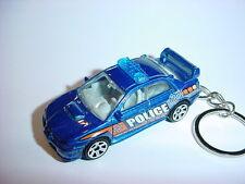 NEW 3D SUBARU IMPREZA WRX POLICE CUSTOM KEYCHAIN keyring key 911 cop blue BLING