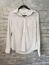 Merona Black White Polka Dot Career Blouse SZ S pullover target long sleeve