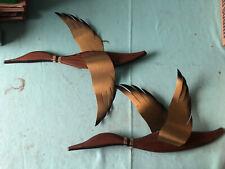 2 Vintage Masketeers Flying Geese Wall Art Mid Century Modern Wood Brass RaRe
