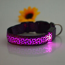 Cute Leopard Pet Cat Dog LED Light Flashing Collar Night Safety Neck Collars Hot
