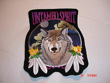 """Wolf With Feathers And Rose """"Untamed Spirit"""" Large Patch, 8.5� Wide X 10.5� Tall"""