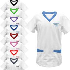 Kasack farbiger Besatz mit Namen bestickt Schwesternkasack Stickerei Kittel NEU