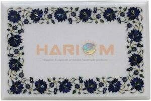 18''x24'' Lapis Mosaic Floral Inlay Art Marble Coffee Table Top Home Decors W468