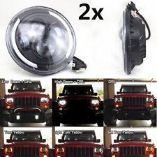 2x 7Zoll Angel Eyes LED H4 H13 Scheinwerfer Blinker Abblendlicht Fernlicht 12/24