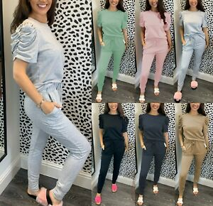 Women's Frill Ruched Short Puff Sleeve Top Bottom Lounge Wear Boxy Tracksuit Set