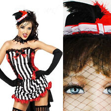 Black Gothic Steampunk Vintage Mini Top Hat Red Feathers Veil Halloween Costume
