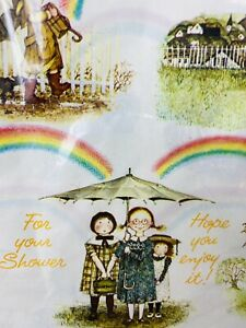 NOS Vintage Holly Hobbie Rainbows Gift Wrap Wrapping Paper American Greetings
