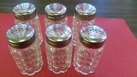 SALT & PEPPER GLASS SHAKERS 1.5 oz BUBBLE W/ ROUND S/S TOP CHOOSE: 1, 2, 3, 6