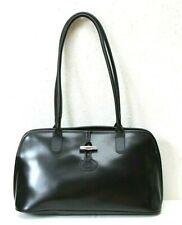 NEW! Longchamp Roseau Domed Black Leather Shoulder Handbag