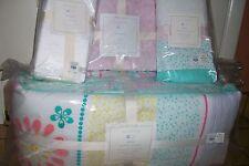 Pottery Barn Kids 4p Nursery Set Maya Bumper & Crib Skirt, Aqua Pink Quilt Sheet
