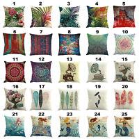 Cotton Linen Car Home Decorative Throw Pillow Case Sofa Bed Waist Cushion Cover