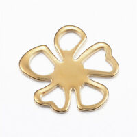 2 Pcs Golden 304 Stainless Steel Flower Links Charms Crafts 26.5x24.5x1.5mm