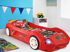 Storm Kids Red Molded Plastic Childrens Racing Car Bed With Working LED Lights