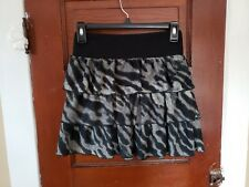 DELIA'S Women's XS Black Gray Animal Print Polyester Spandex Tiered Skirt