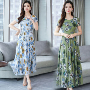 Women Crew Neck Floral Maxi Long Dress Summer Casual Party Beach Holiday Dresses