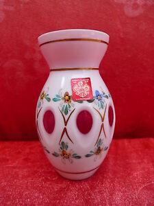 edle Vase__Mundgeblasen-geschliffen-bemalt__Freiherr von Poschinger !