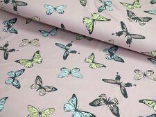 Baumwoll Jersey Schmetterlinge Butterfly rosa bunt Meterware Damenstoff