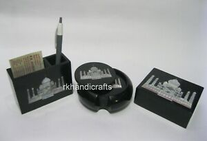 Marble Accessories Box MOP Art Wine Coaster Set Elegant Pen Stand for Home Decor
