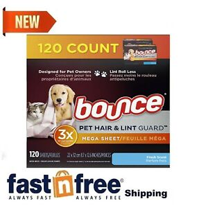 bounce Pet Hair Lint Guard Mega Dryer Sheets with 3X Pet Hair Fighter 120 Count