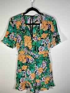 Sandro 100% SILK Green Floral Romper Short Slv Size XS NWT $400 missing belt