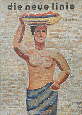 Rare GERMAN Magazine Nude NATIVE GIRL Fruit Basket TILE Work 1935 MATTED PICTURE