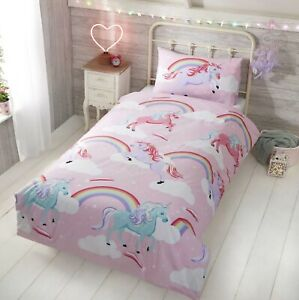 My Little Unicorn Rainbow Girls Single Bed Duvet Quilt Cover Bedding Set Pink