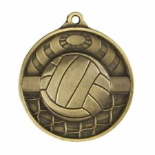 Volleyball Antique Gold 3D Effect Medal with Ribbon, Engraved FREE