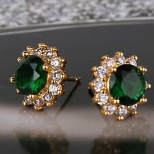 Fashion jewellery!24k yellow gold filled emerald smart  stud earring