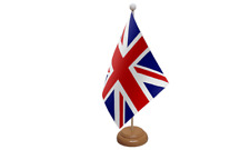 Union Jack (UK) Table Flag with Wooden Stand