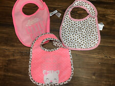 Lot of 3 baby girl bibs by Child of Mine pink animal print kittens