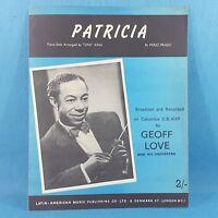 Patricia - Geoff Love - Original Vintage Sheet Music 1958